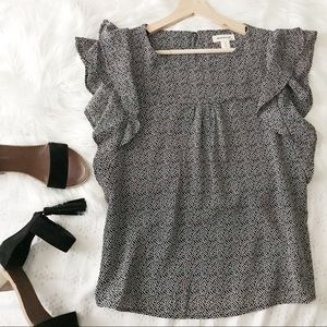 Black Blouse W/White Spots + Ruffles on the Sleeve